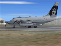 Screenshot of Alaska Airlines Boeing 737-200 on runway.