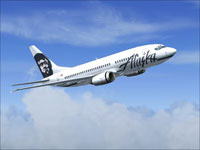 Screenshot of Alaska Airlines Boeing 737-790 in flight.