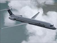 Screenshot of Alaska Airlines MD-83 in flight.