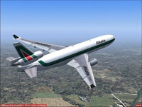 Screenshot of Alitalia McDonnell Douglas MD-11 in flight.