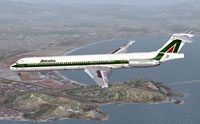 Screenshot of Alitalia McDonnell Douglas MD-80 in flight.