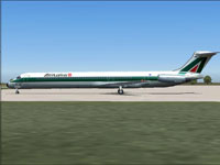 Screenshot of Alitalia McDonnell Douglas MD-82 on the ground.