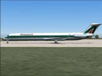 Screenshot of Alitalia McDonnell Douglas MD-82 on the ground.