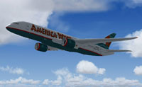 Screenshot of America West Airlines Boeing 7E7-800 in flight.
