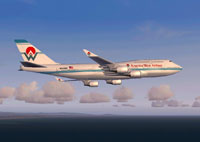 Screenshot of America West Boeing 747-400 in flight.