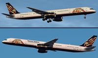 Screenshots of American Trans Air 757-300 in flight.