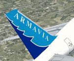 Screenshot of Armavia Airbus A320-211 tail decal.