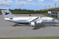 Screenshot of Atlantic Airways BAe 146-200 on the ground.