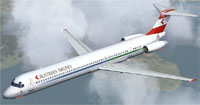 Screenshot of Austrian Airlines MD-83 in flight.