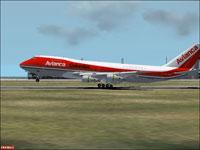 Screenshot of Avianca Boeing 747-200 on runway.