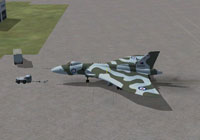 Screenshot of Avro Vulcan XH558 on the ground.