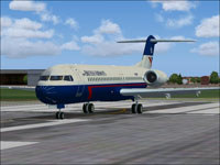 Screenshot of BA TAT Fokker 100 on runway.
