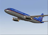 Screenshot of BMI Interim Colors A320 in flight.