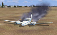 Screenshot of damaged Beechcraft Baron 58 on the ground.
