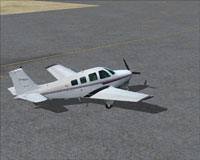 Screenshot of Raytheon A36 Bonanza on the ground.