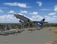 Screenshot of Belavia Boeing 737-500 shortly after take-off.