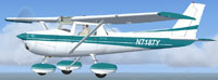Screenshot of blue and white Cessna 152 in flight.