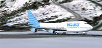 Screenshot of Blue Bird Airlines Boeing 747-400 on runway.