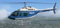 Screenshot of blue and white Bell 206B JetRanger in flight.