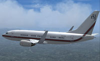 Screenshot of Boeing Business Jet Boeing 737-700 in flight.