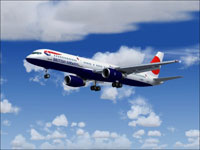 Screenshot of British Airways Boeing 757 in flight.