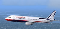 Screenshot of Canadian Airbus A320-211 in flight.