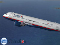 Screenshot of Canadian Airlines Airbus A320 in flight.