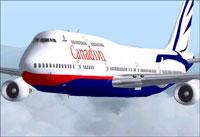 "Screenshot of Canadian Boeing 747-400 ""Goose"" in flight."