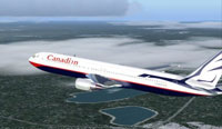 Screenshot of Canadian Boeing 767-375ER in flight.