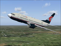 Screenshot of Canadien Airlines Boeing 737-700 in flight.