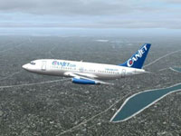 Screenshot of Canjet Boeing 737-200 in flight.