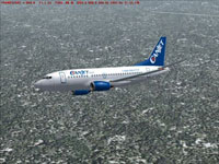 Screenshot of Canjet Boeing 737-500 in flight.