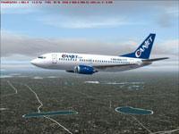 Screenshot of Canjet Boeing 737-500 in flight.