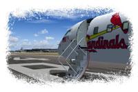 Screenshot of Cardinals Charter CRJ-200 with doors open on runway.