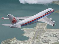Screenshot of Cargolux Boeing 747-400F in the air.