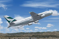 Screenshot of Cathay Pacific Airbus A380-100 in flight.