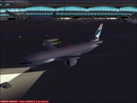 Screenshot of Cathay Pacific Boeing 777-200ER on the ground.