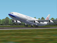 Screenshot of China Airlines Airbus A340-313X taking off.