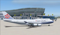 Screenshot of China Airlines Boeing 747-400 on the ground.
