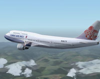 Screenshot of China Airlines Boeing 747-400 in flight.