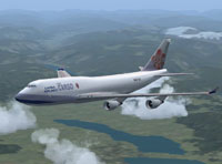 Screenshot of China Airlines Cargo Boeing 747-400F in flight.