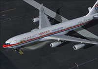 Screenshot of China Eastern Airlines A340-300 on the ground.