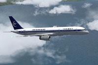 Screenshot of China Xinjiang Airlines Boeing 757-2Y0 in flight.