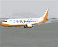 Screenshot of Connexion By Boeing 737-400 on the ground.
