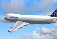 Screenshot of Continental Airline Boeing 747-200 in flight.
