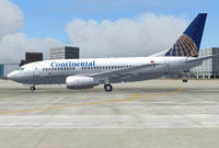 Screenshot of Continental Airlines Boeing 737-700 on the ground.