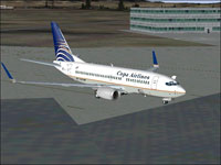 Screenshot of Copa Airlines Boeing 737-7H4 on the ground.