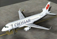 Screenshot of Crossair Embraer 170 on the ground.