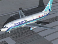 Screenshot of Cruzeiro Boeing 737-200 on runway.