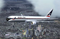 Screenshot of Delta Airlines Boeing 767-322/ER in flight.